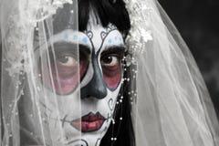 Bride with a mexican calaveras makeup Royalty Free Stock Image