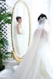 Bride in mirror Royalty Free Stock Images