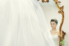 Bride in the mirror Stock Photography