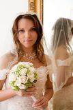 Bride at the mirror stock image