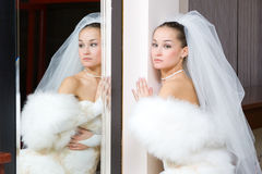 Bride in the mirror Royalty Free Stock Image