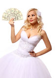 Bride with money. beautiful blonde young woman holding dollars bills isolated on white Royalty Free Stock Photography