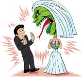 Bride/monster. Bride going ballistic on her husband Royalty Free Stock Image