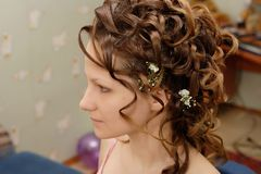Bride, morning before the ceremony. Bride after hair style, before ceremony Royalty Free Stock Images