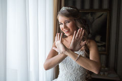 Bride on the morning of the wedding day Royalty Free Stock Photo