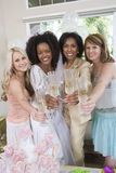 Bride With Mother And Friends Toasting Champagne Royalty Free Stock Photo