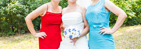 Bride With Mother and Sister. Wedding guests Stock Image