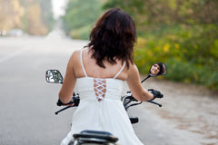 Bride on motorcycle. Stock Image