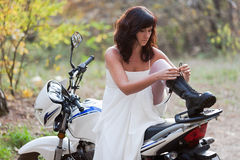 Bride on motorcycle. Stock Photography