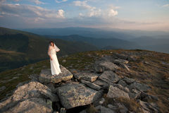 Bride in mountains. Stock Image