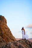 Bride on mountains Royalty Free Stock Photos