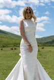 Bride in the mountains. The concept of lifestyle and wedding Stock Photos
