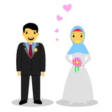 Bride muslim couple, on white. Smiling muslim bride couple, on white stock illustration