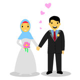 Bride muslimcouple,  on white Stock Photo