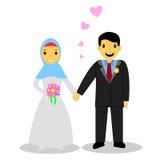 Bride muslimcouple,  on white Stock Photo