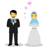 Bride muslimcouple,  on white Stock Photography
