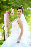 Bride in natural park Royalty Free Stock Image
