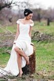 The bride near the cut tree Stock Image