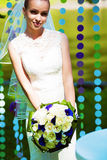 Bride near garlands of circles Royalty Free Stock Photography