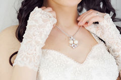 Bride and necklace Royalty Free Stock Image