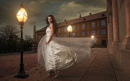 Bride in  the night before the church . Stock Photo