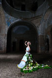 Bride in the old ruined church Royalty Free Stock Photography