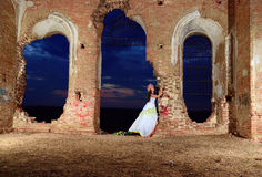 Bride in the old ruined church Royalty Free Stock Images
