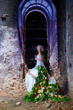 Bride in the old ruined church Royalty Free Stock Photo
