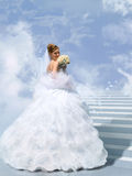 Bride On Stair To Cloud Collage Royalty Free Stock Photos