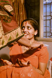 Bride in orange dress in Rajasthan Royalty Free Stock Images
