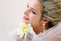 Bride with orchid Royalty Free Stock Image