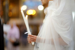 Bride in an orthodox wedding ceremony Royalty Free Stock Photos