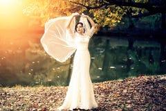 Bride outdoor in autumn Stock Image