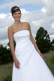 Bride Outside. A bride in her white wedding dress Stock Photo