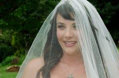 Bride outside church Royalty Free Stock Photos