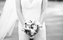 Bride outside on wedding day Royalty Free Stock Photos