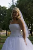 Bride in park. Beautiful bride standing an a park Stock Photo