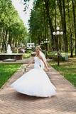 Bride in a park stock photos