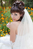 Bride in the park. Attractive young brunette bride posing in the park Stock Photos