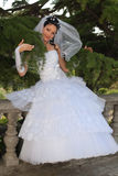 Bride in the park. Attractive young bride in the autumn park Royalty Free Stock Photos