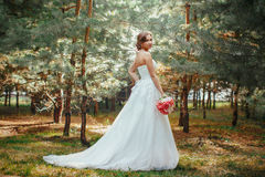 Bride in park outdoors Stock Image