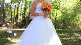 Bride In A Park stock footage