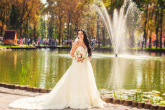 Bride in park Royalty Free Stock Images