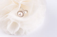 Bride pearl earrings Stock Photography