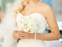 Bride with Pearl Jewelry Royalty Free Stock Photography