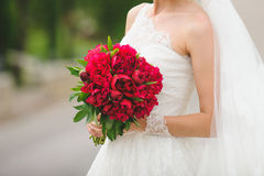 Bride with Peony Bouquet Stock Photo