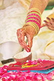 Bride performing Pooja for mangala Sutra Stock Photo