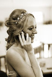 Bride on phone Royalty Free Stock Images
