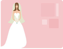Bride on pink. Retro bride illustration, great for invitations, etc Royalty Free Stock Image
