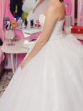 Bride in Pink Room Royalty Free Stock Image